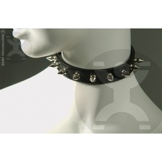 Leather Collar with Short Spikes