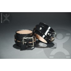 Shiny Black Patent Leather Locking Cuffs